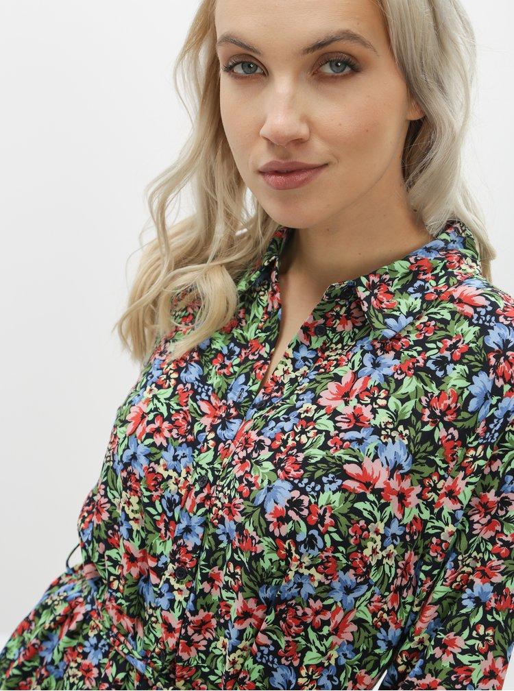 Zeleno-černé květované košilové šaty ONLY Floral