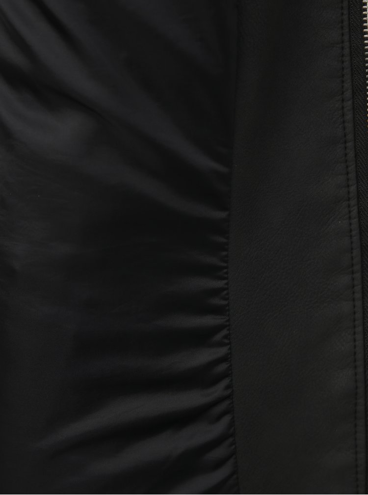 Černá koženková bunda ONLY Melanie