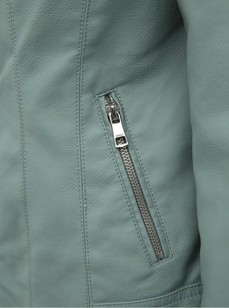 Světle zelená koženková bunda ONLY Melanie