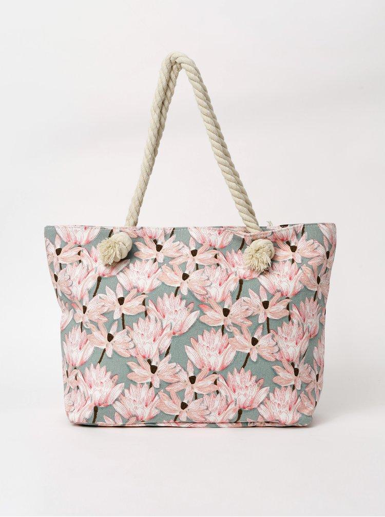 Šedo-růžová dámská vzorovaná plážová taška Haily´s Samila