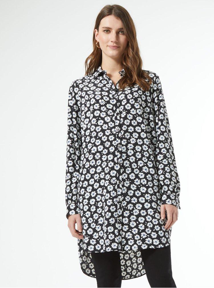 Černá květovaná dlouhá košile Dorothy Perkins