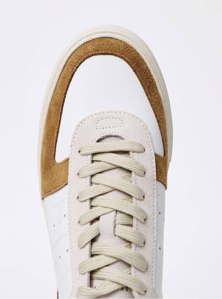 Hnedo-biele pánske kožené tenisky Selected Homme Duran