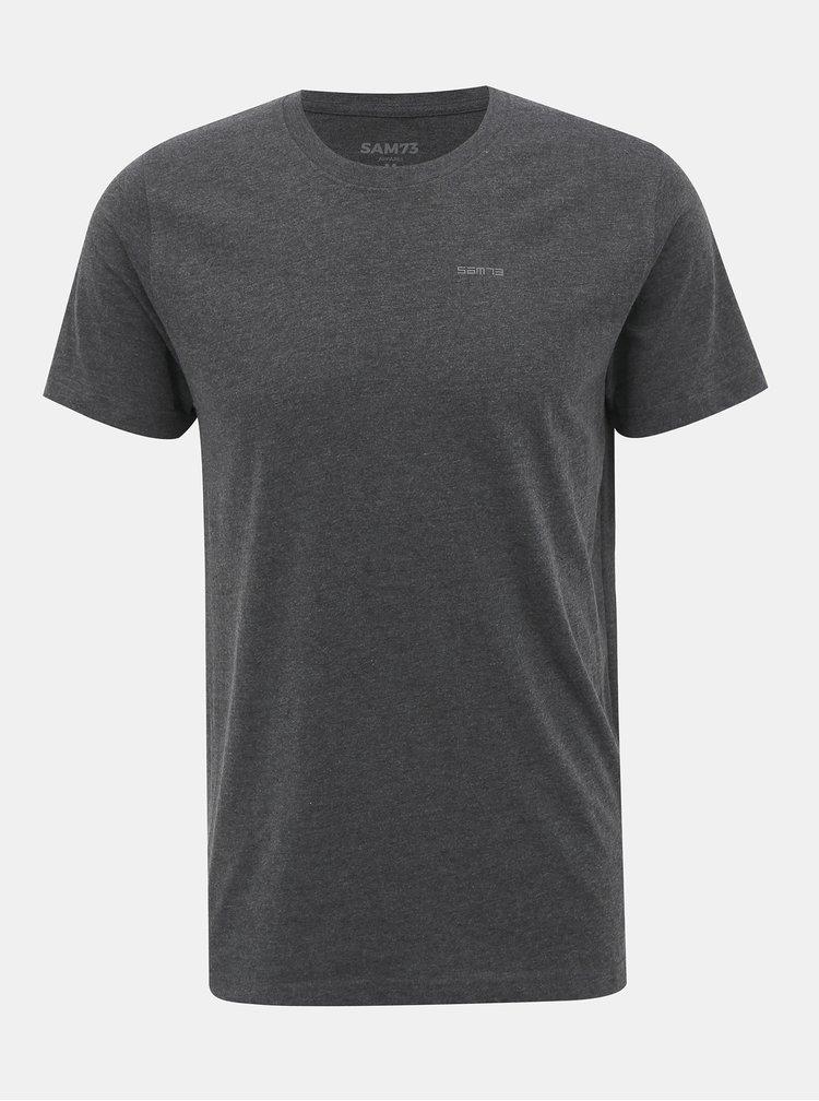 Tmavě šedé pánské basic tričko SAM 73