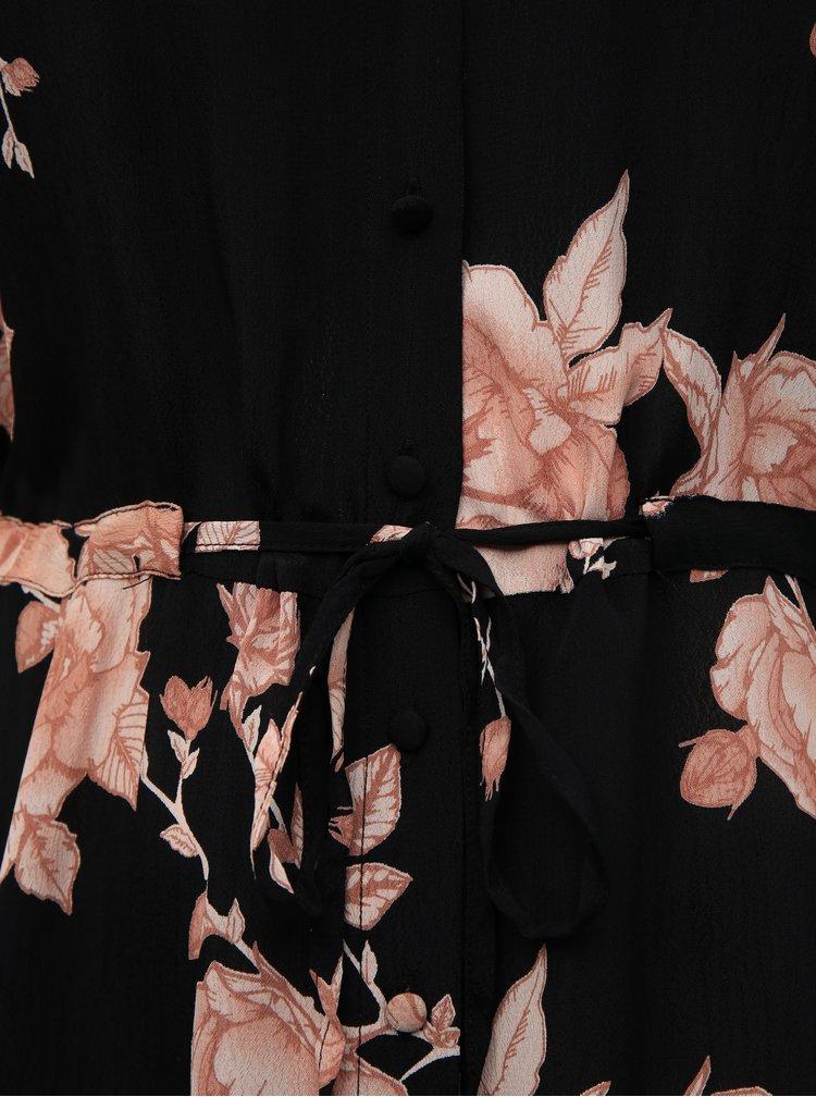 Čierne kvetované košeľové maxišaty Zizzi Mnanna