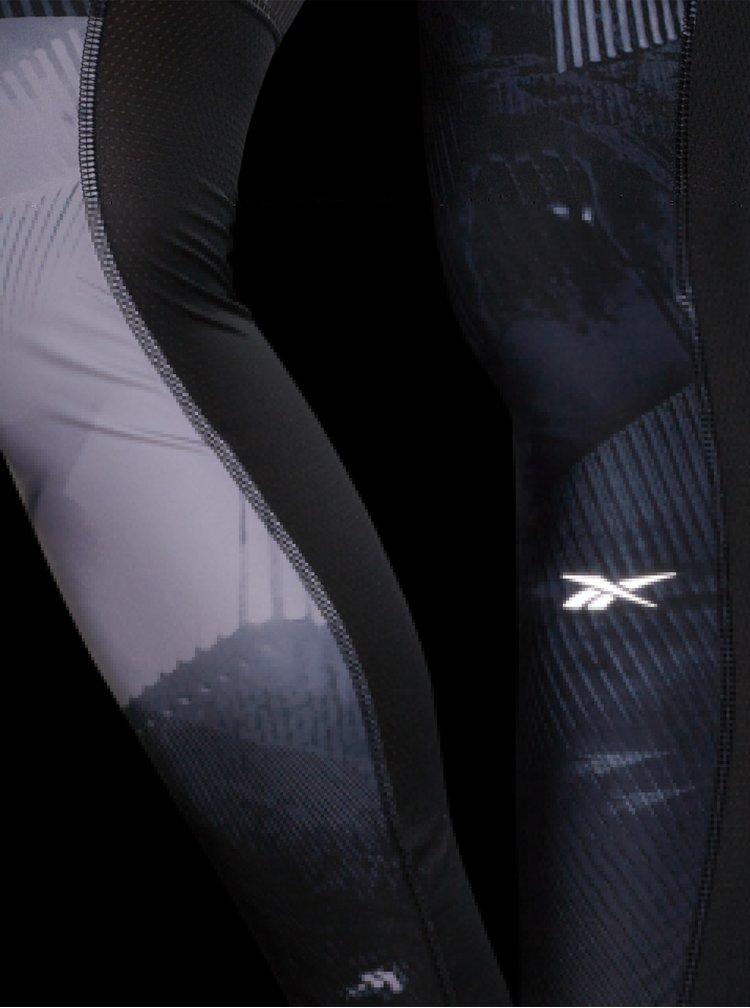 Šedé dámské vzorované sportovní legíny Reebok