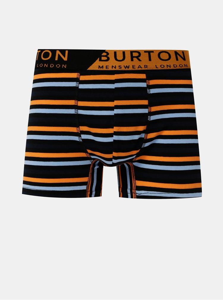 Sada tří pruhovaných boxerek v černé a modré barvě Burton Menswear London
