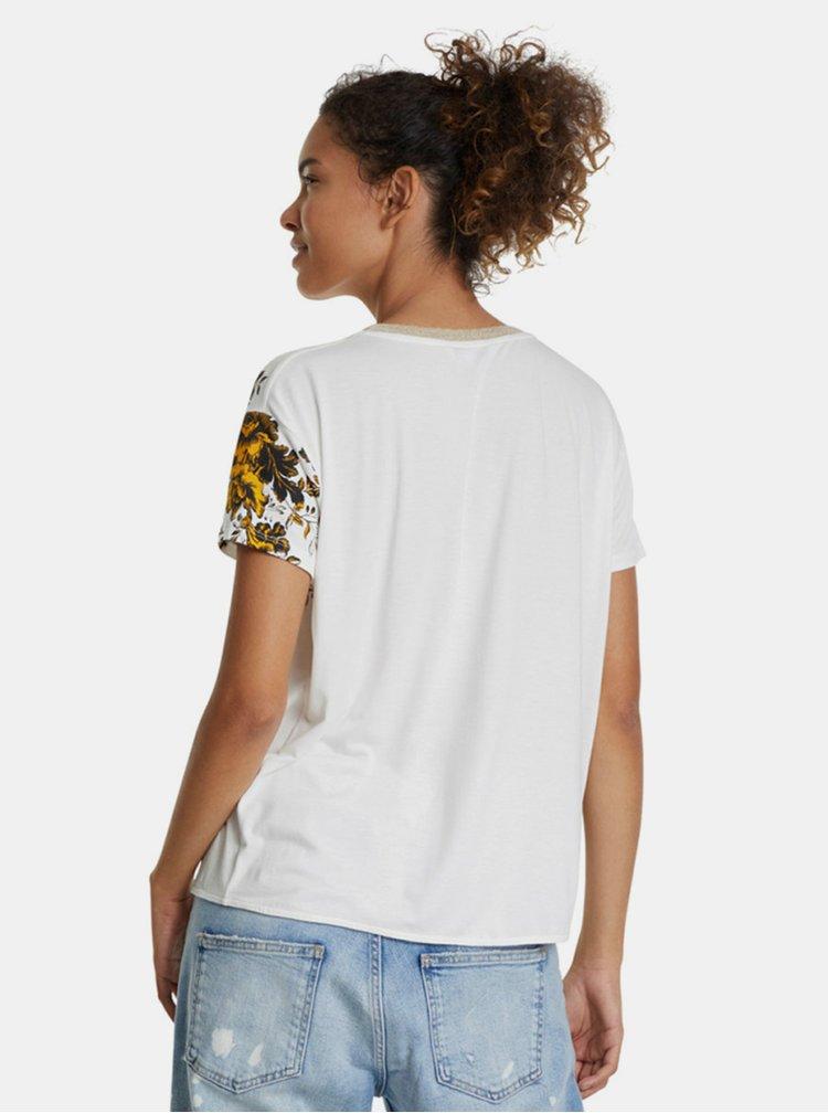 Krémové vzorované tričko Desigual