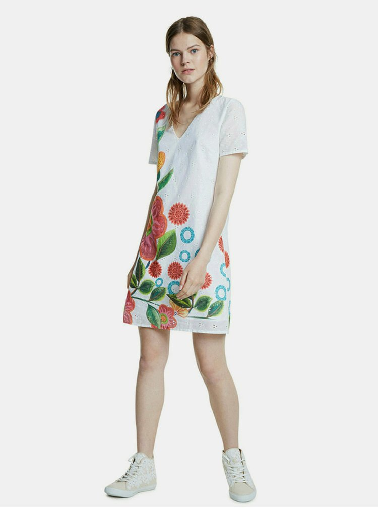 Bílé květované šaty s madeirou Desigual
