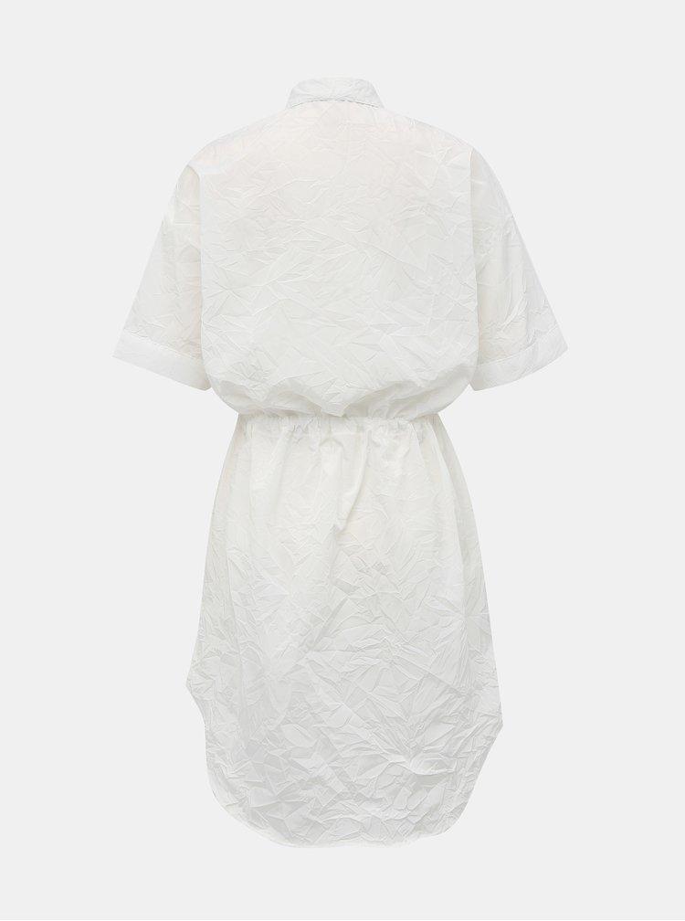 Bílé košilové šaty s mačkaným efektem Alcott