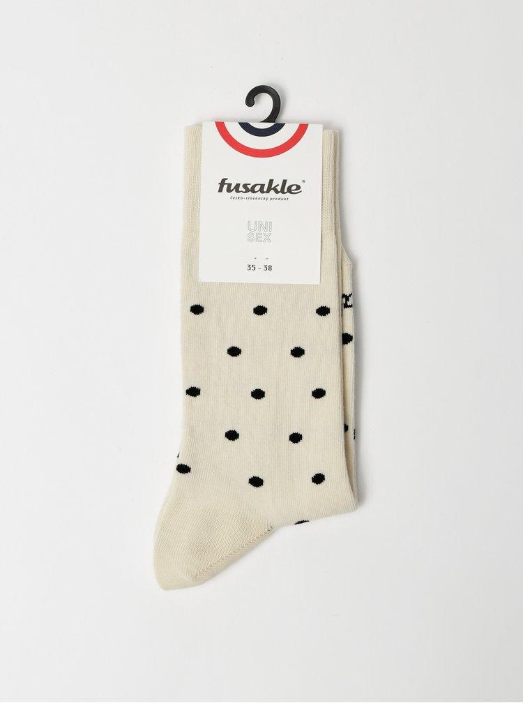 Krémové puntíkované ponožky Fusakle Puntík
