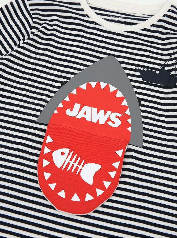 Bílo-modré klučičí pruhované tričko name it Jaws