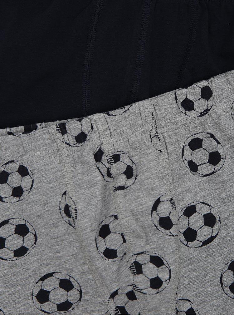 Sada tří klučičích boxerek v černé a šedé barvě name it Football