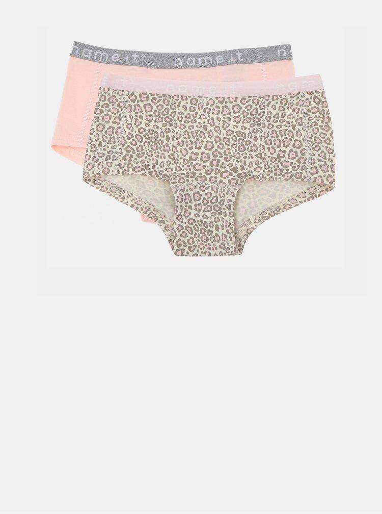 Sada dvoch dievčenských nohavičiek v hnedej a ružovej farbe s leopardím vzorom name it Hipster