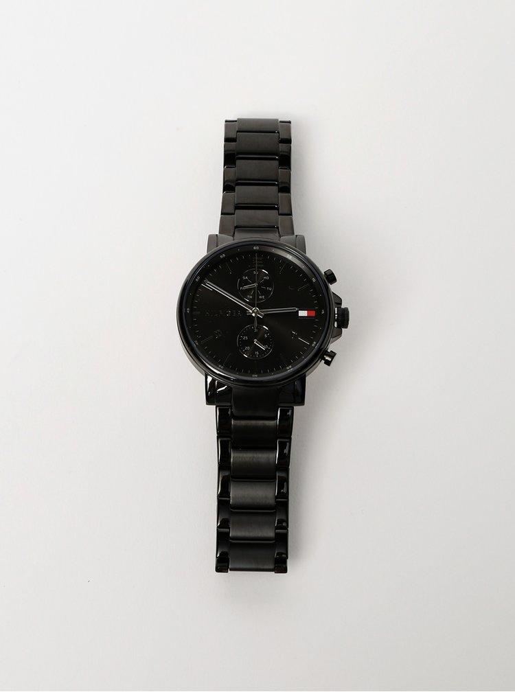 Pánské hodinky s černým nerezovým páskem Tommy Hilfiger