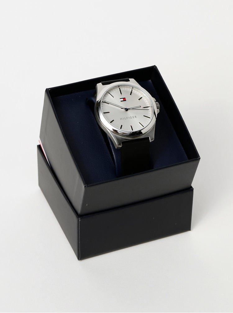 Pánské hodinky s černým koženým páskem Tommy Hilfiger
