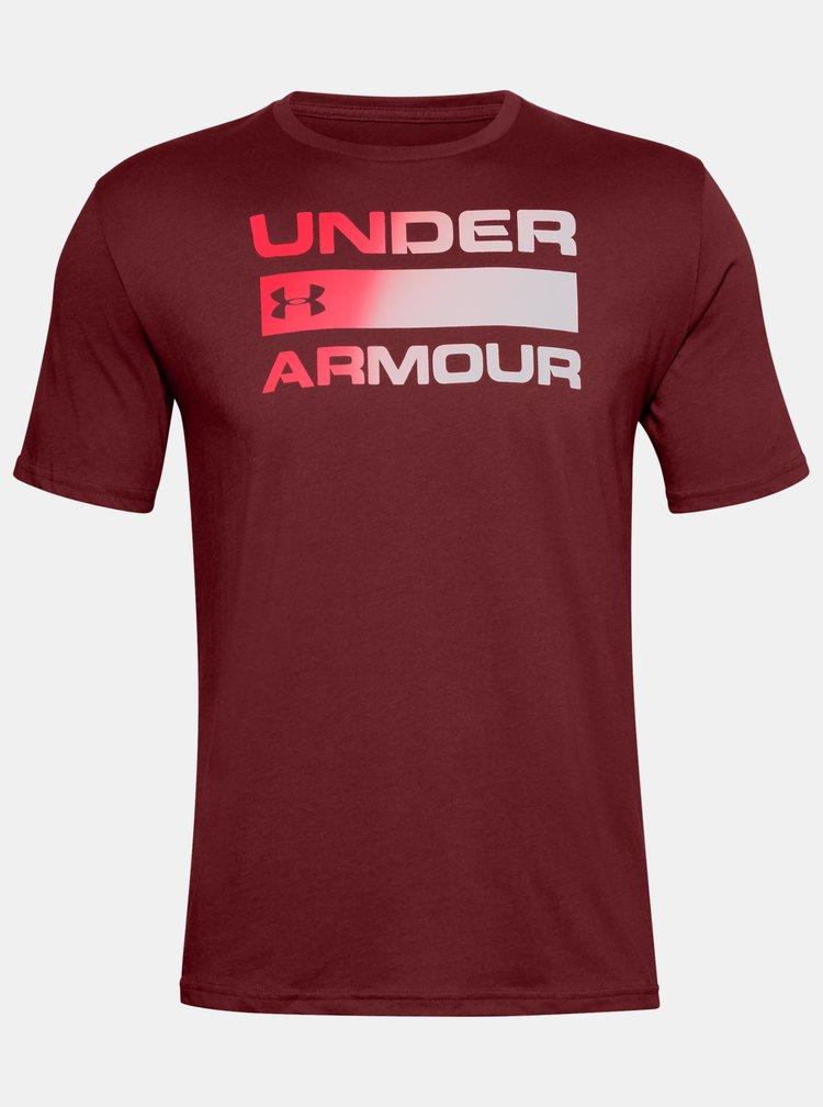 Vínové pánské tričko Team Issue Wordmark Under Armour