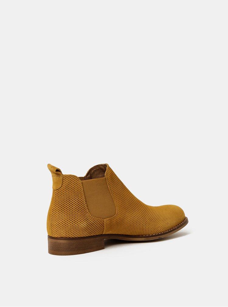 Hnědé dámské vzorované semišové chelsea boty OJJU
