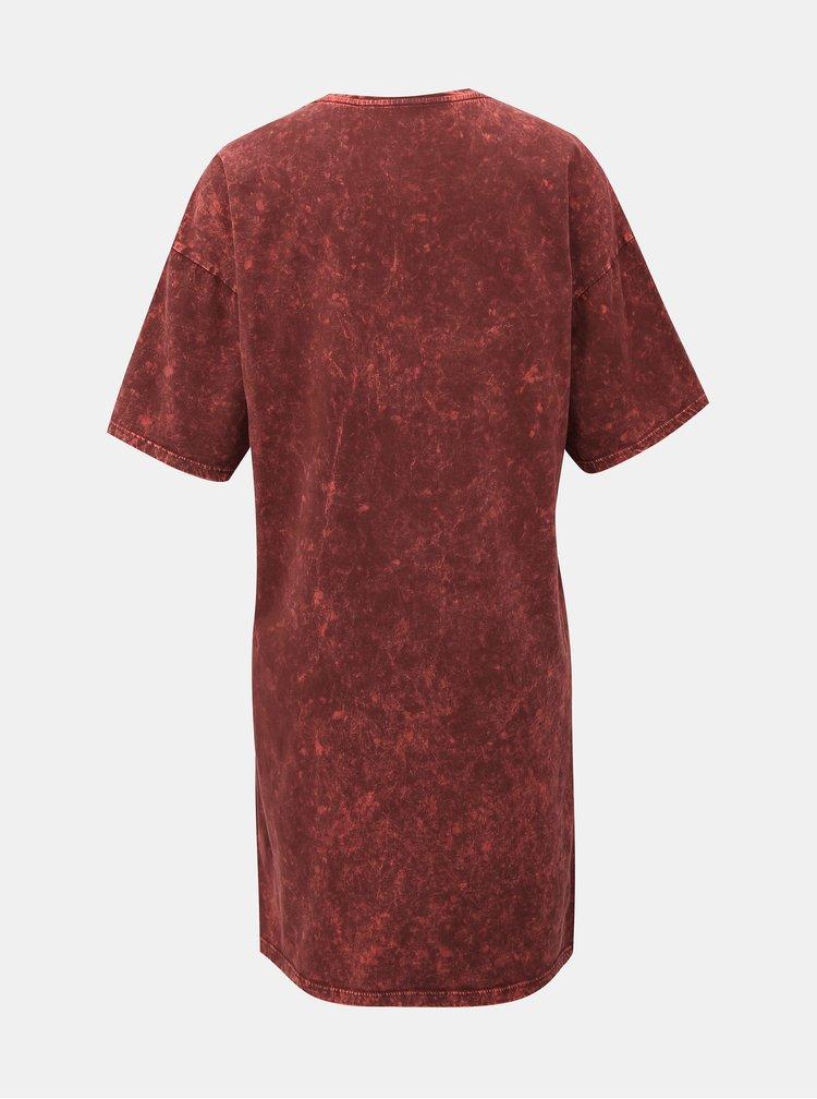 Vínové šaty s potiskem Noisy May Weekend