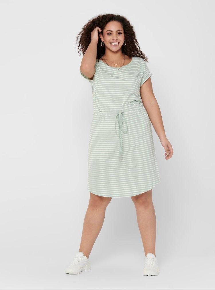 Světle zelené pruhované basic šaty ONLY CARMAKOMA April