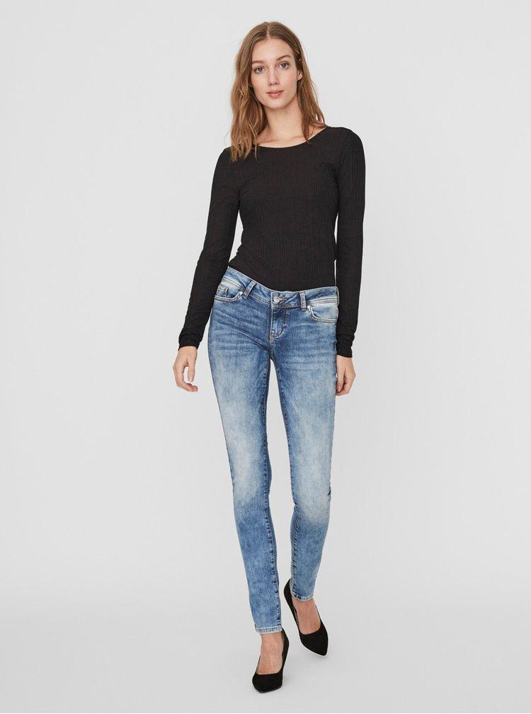 Černé žebrované tričko AWARE by VERO MODA Ketti