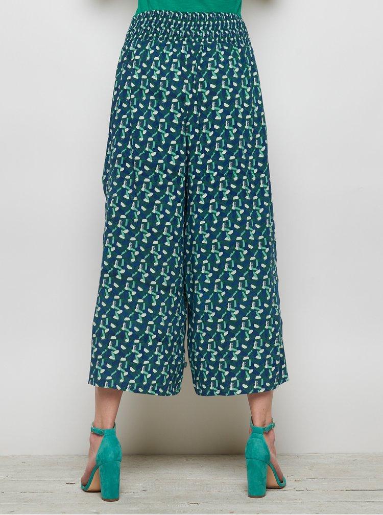Zeleno-modré vzorované volné kalhoty s rozparky Tranquillo