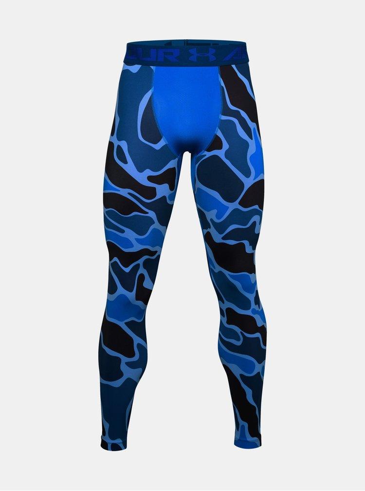 Modré pánské vzorované kompresní legíny HeatGear Under Armour