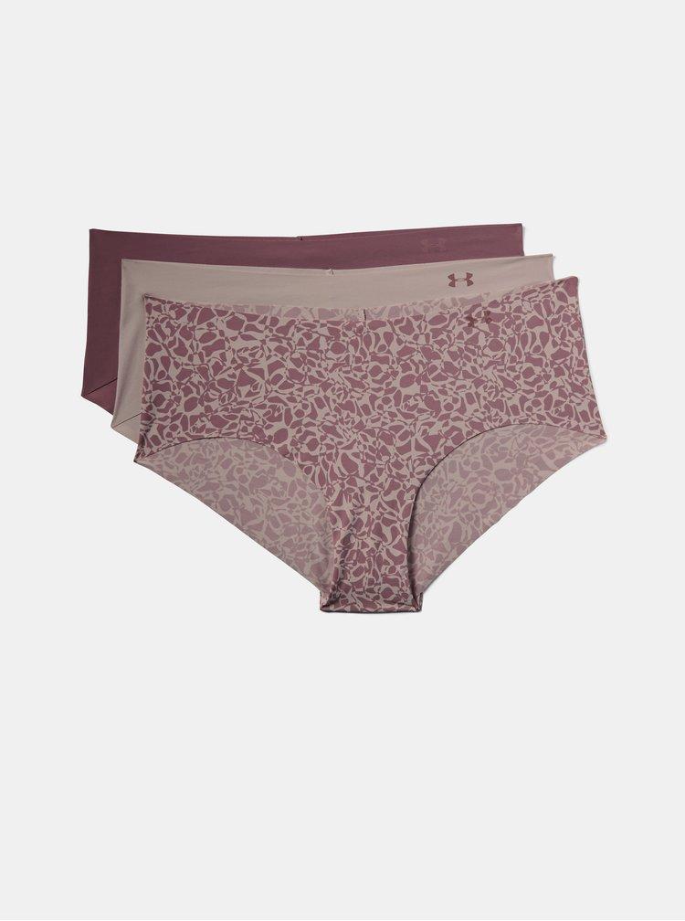 Sada tří růžových kalhotek Pure Stretch Under Armour