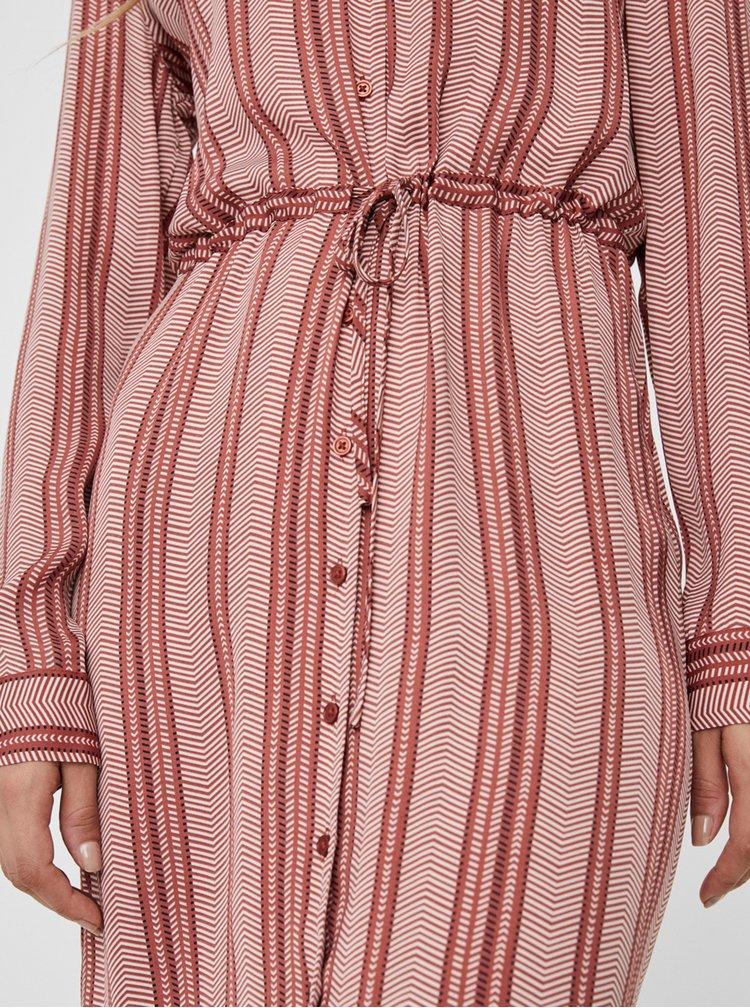 Hnědé pruhované košilové šaty VERO MODA Juna