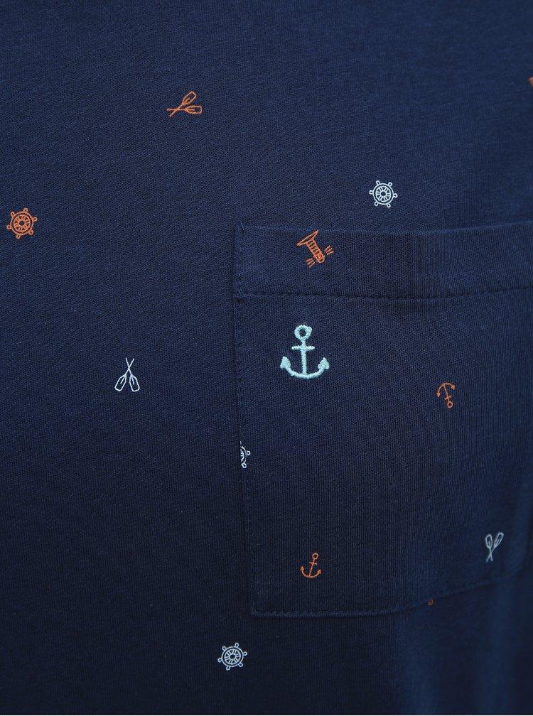 Tmavomodré vzorované tričko ONLY & SONS Russel