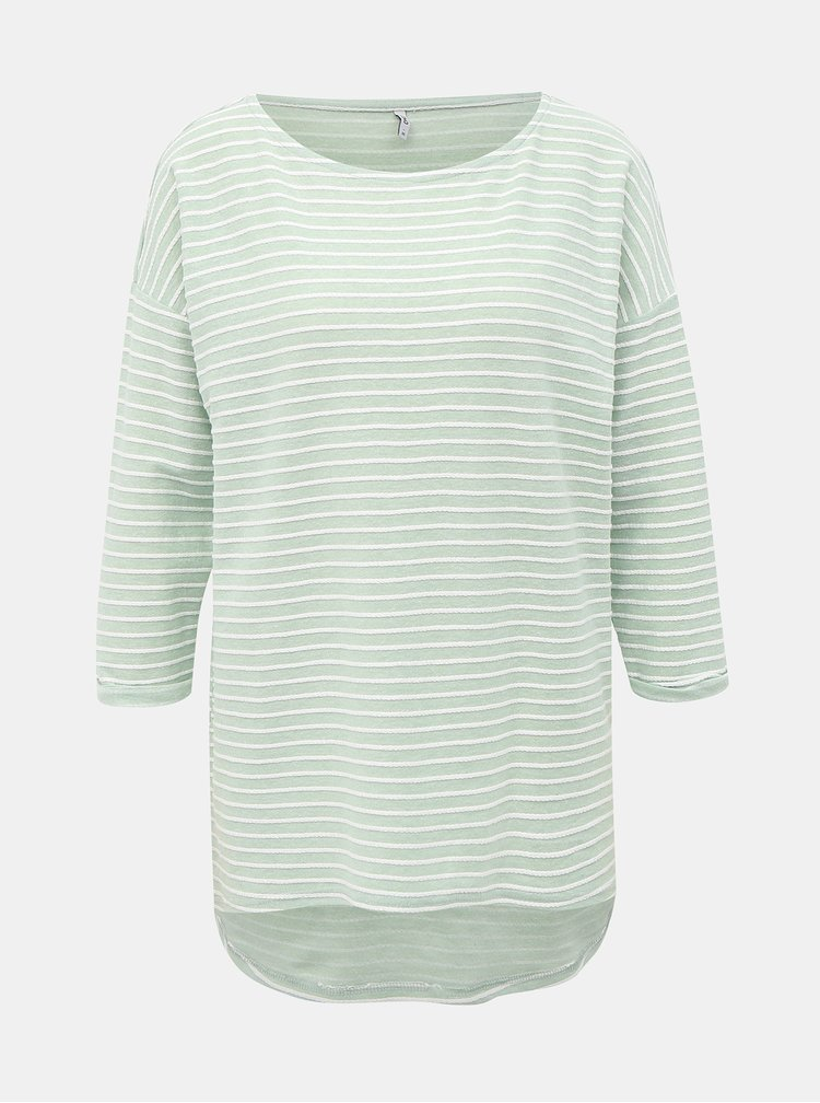 Svetlozelené pruhované voľné tričko s 3/4 rukávom ONLY Elly