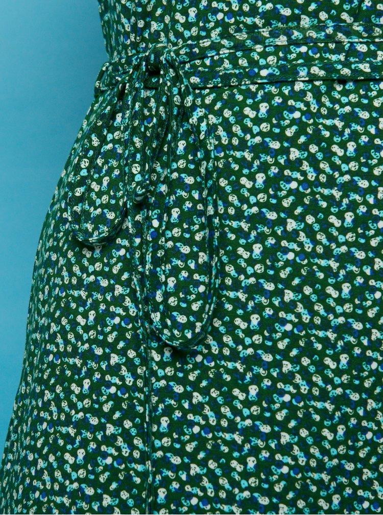 Tmavozelené vzorované midišaty Tranquillo