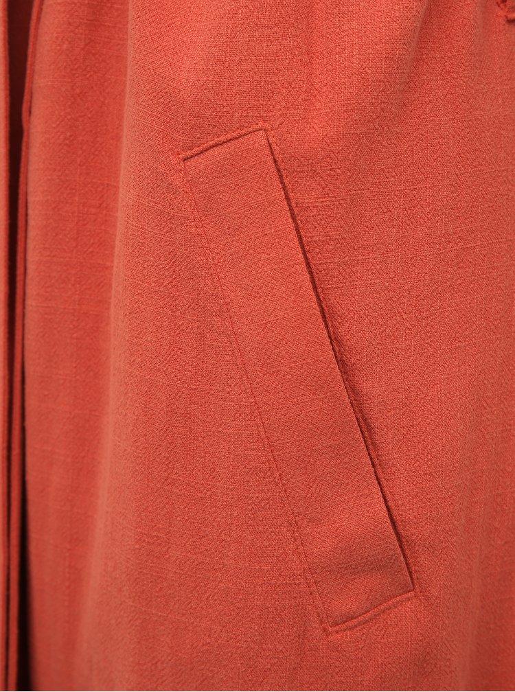 Červená dlouhá vesta s příměsí lnu ONLY Brienna