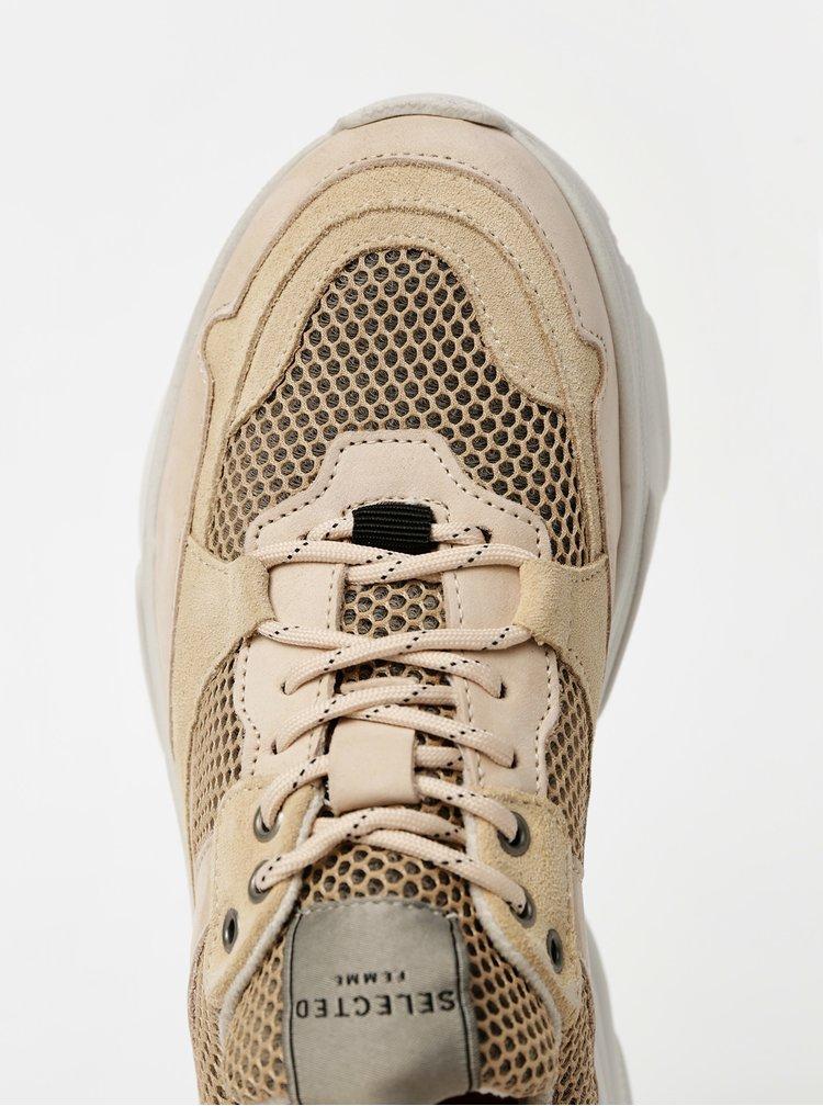 Pantofi sport si tenisi pentru femei Selected Femme - bej