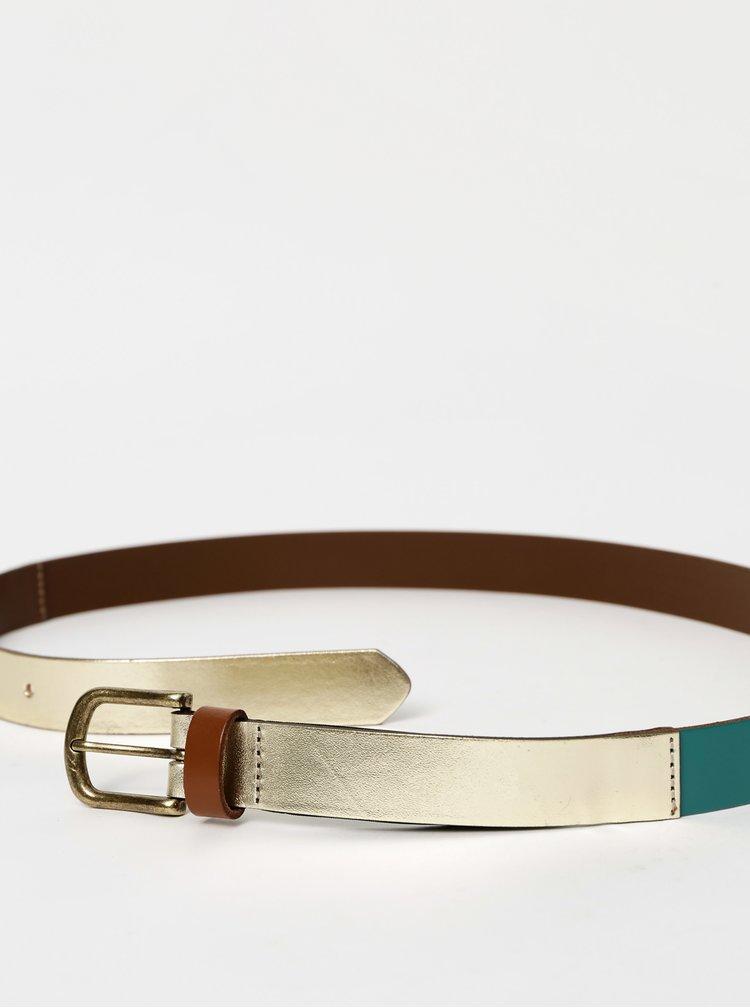 Zlato-tyrkysový kožený pásek Pieces Ninna
