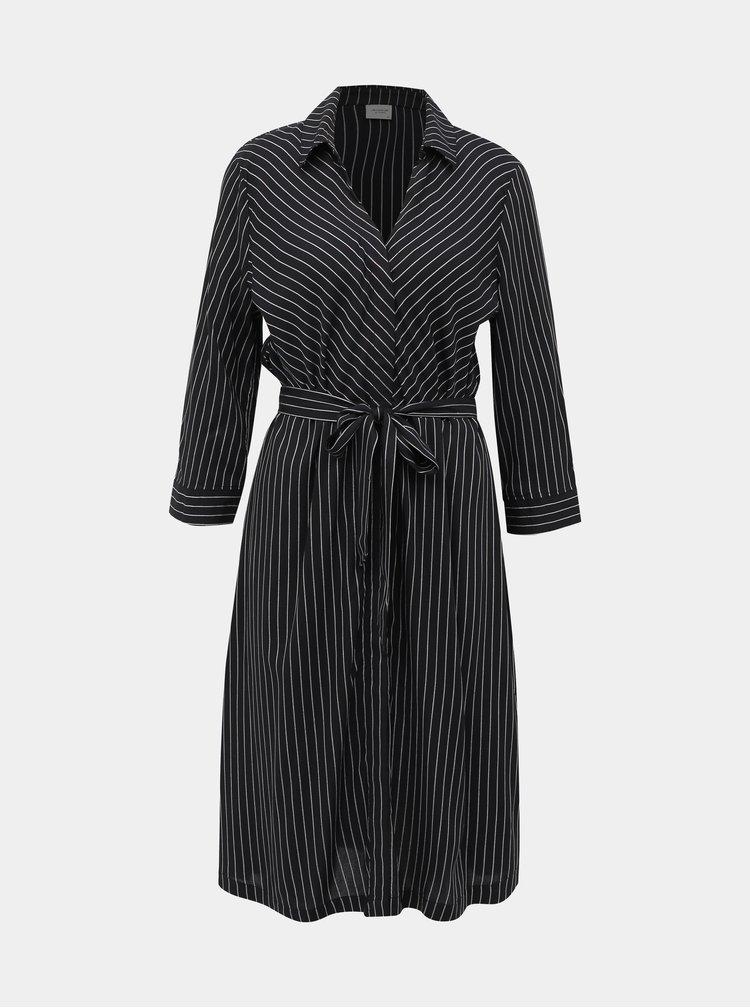 Černé pruhované košilové šaty Jacqueline de Yong Robbie