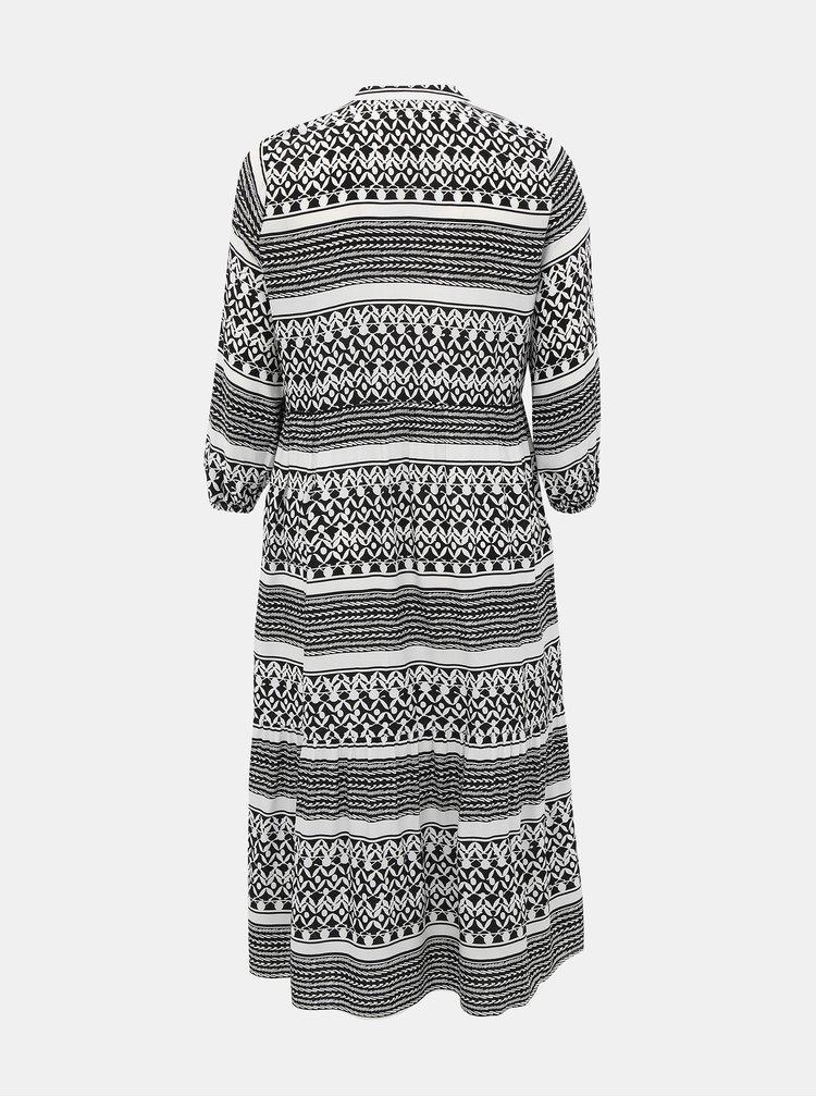 Bílo-černé vzorované maxišaty ONLY CARMAKOMA Marrakesh