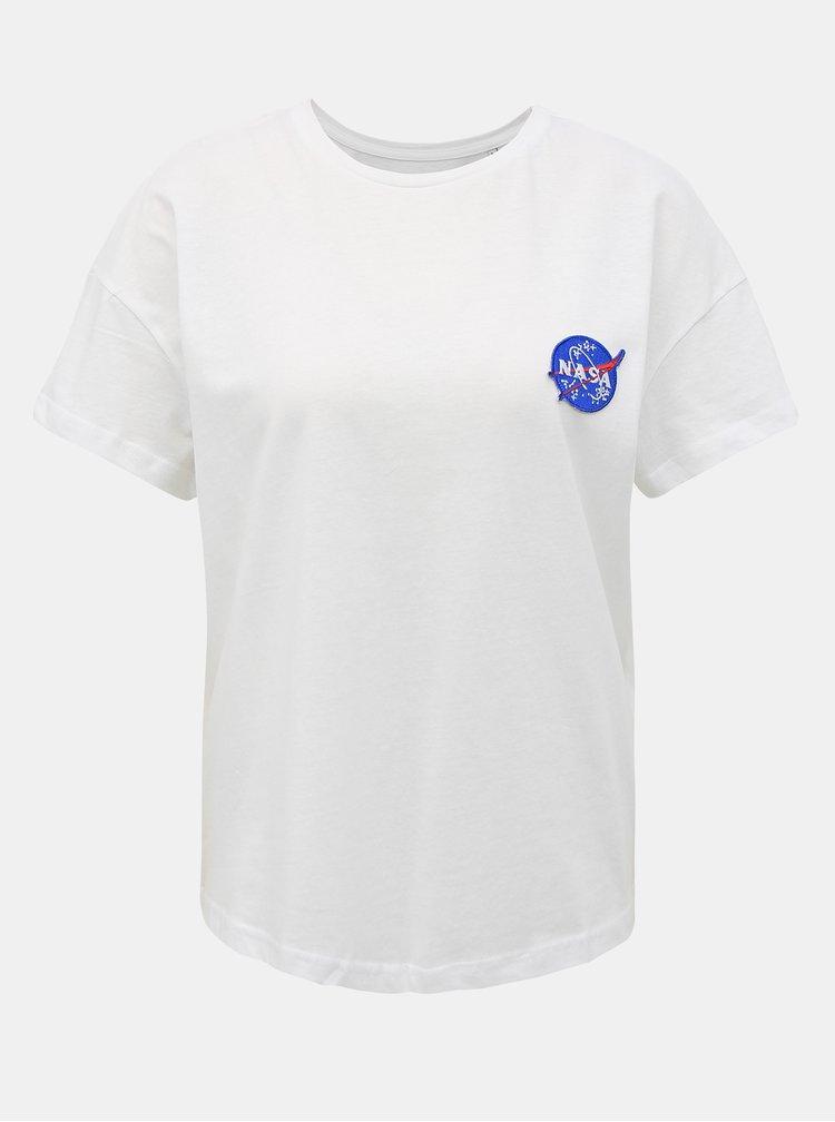 Biele tričko s potlačou na chrbte ONLY NASA