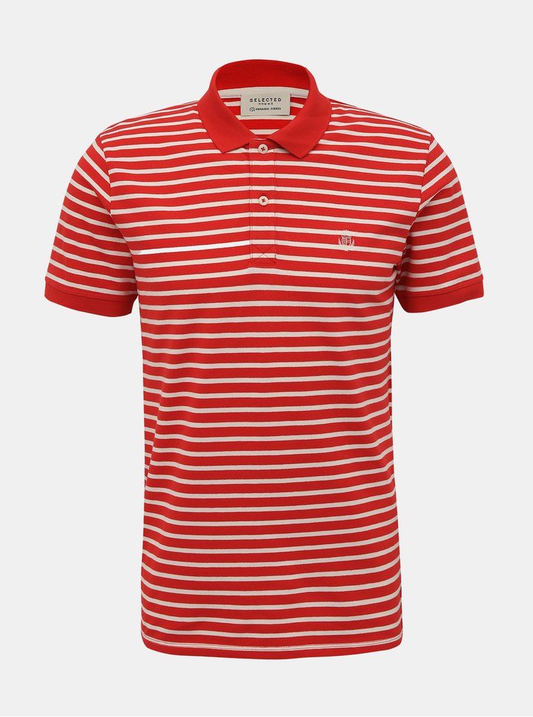 Červené pruhované basic polo tričko Selected Homme Haro