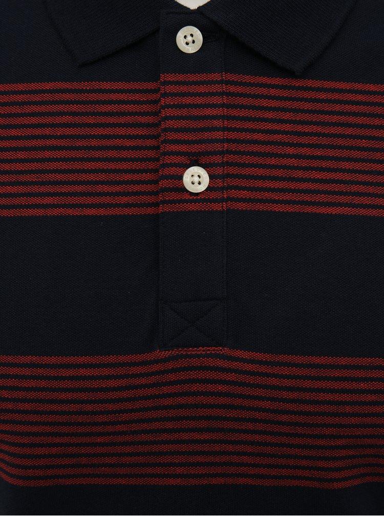 Vínovo-modré pruhované polo tričko Selected Homme Haro