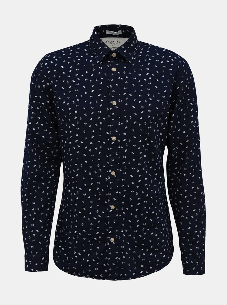 Tmavomodrá vzorovaná slim fit košeľa Selected Homme Nolan