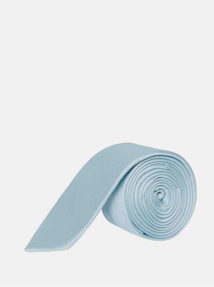 Světle modrá kravata s kapesníčkem a broží Burton Menswear London