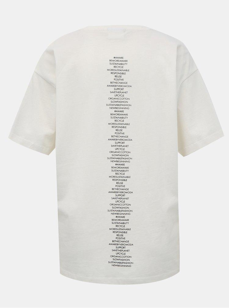 Biele tričko s potlačou AWARE by VERO MODA Kerry