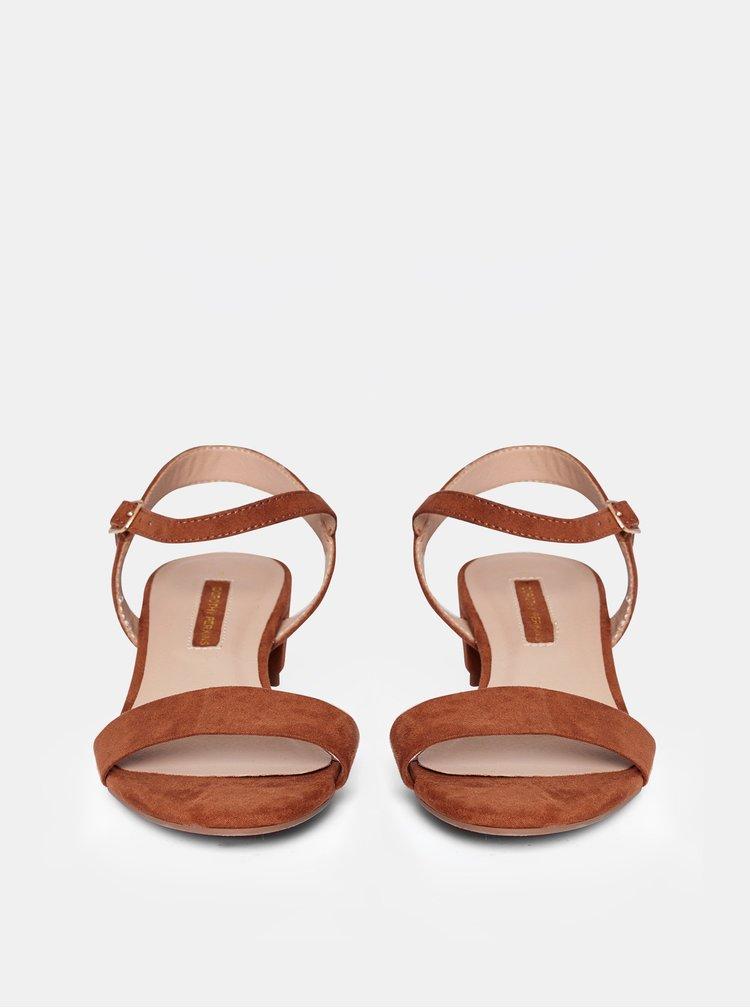 Hnedé sandále v semišovej úprave Dorothy Perkins