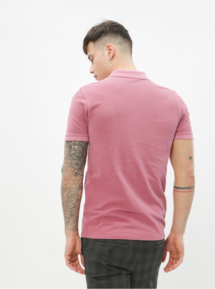 Růžové basic polo tričko Selected Homme Soho