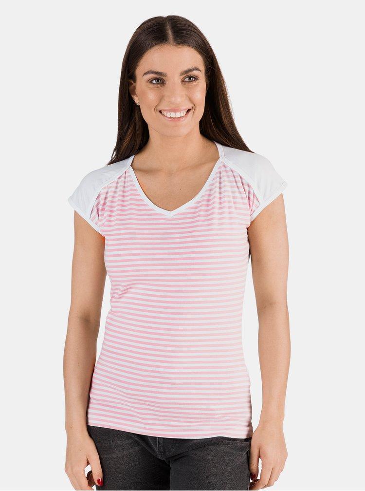 Růžovo-bílé dámské pruhované tričko SAM 73 Jonna