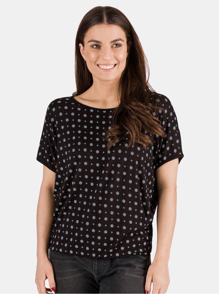 Čierne dámske vzorované tričko SAM 73