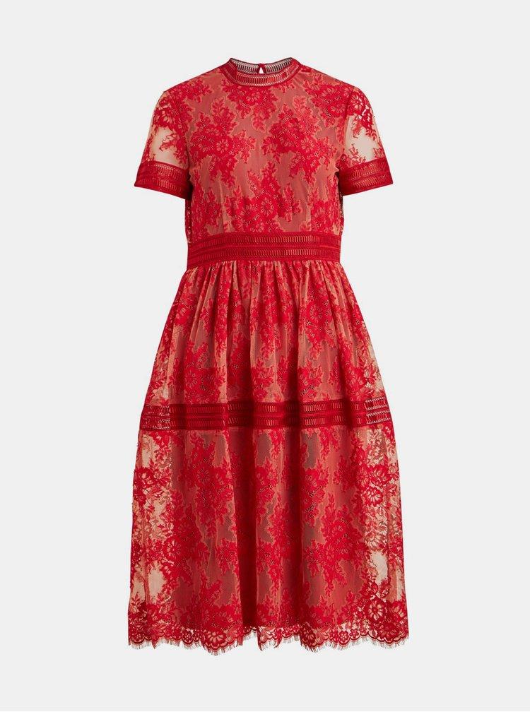 Červené krajkové šaty VILA Dixie