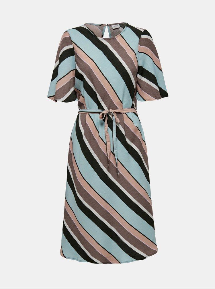 Hnědo-modré pruhované šaty Jacqueline de Yong Seda