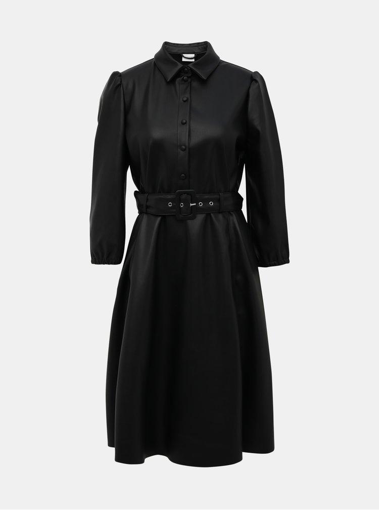 Černé koženkové šaty VILA Daras