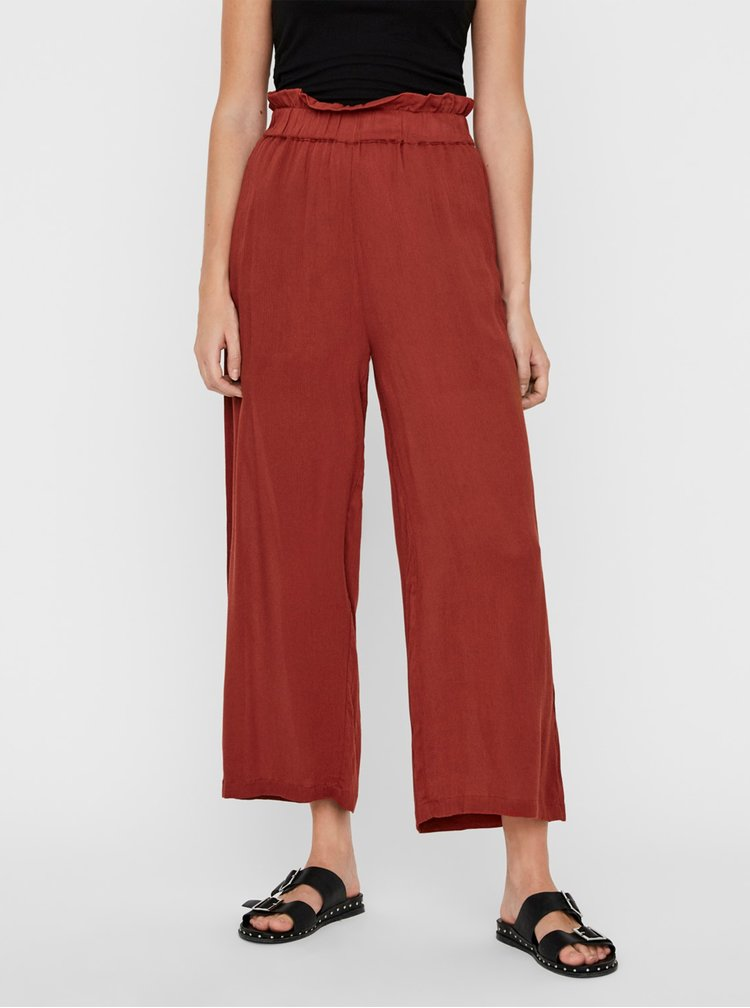 Pantaloni chino pentru femei Noisy May - caramiziu
